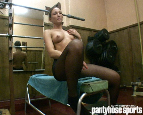 Topless gym girl in black pantyhose