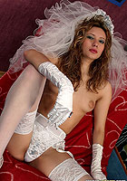 Sexy bride Jay in white stocking