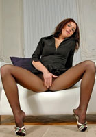 Leggy Smilla posing in pantyhose